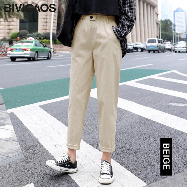 Women Casual Harem Korean Elastic Waist Triangle Buckle Cargo Pants