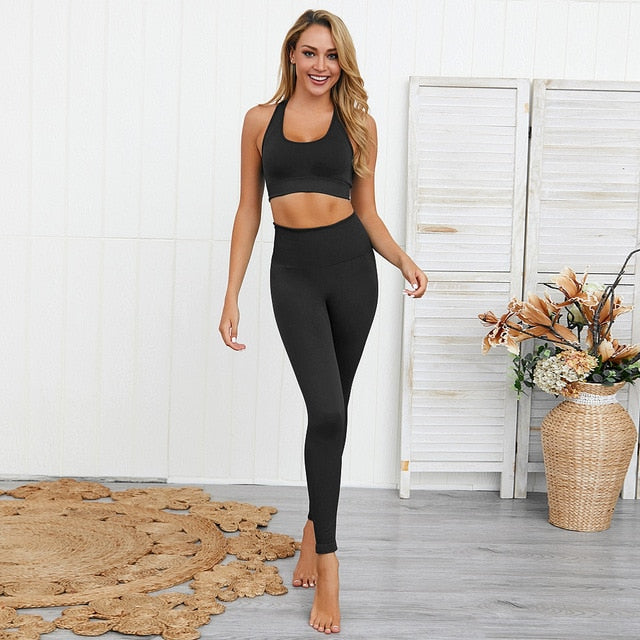 Women Yoga Sets Breathable Sports Bra And Leggings