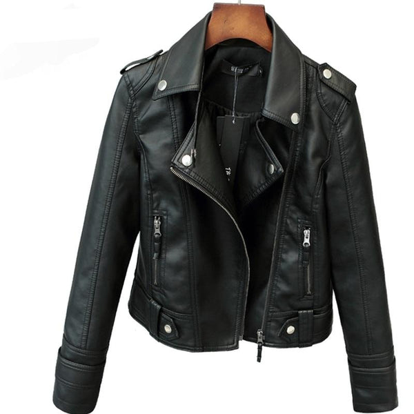 Women Short Faux PU Motorcycle Leather Jacket