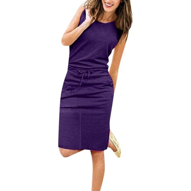 Women Causal Sleeveless Pencil Dress With Pockets