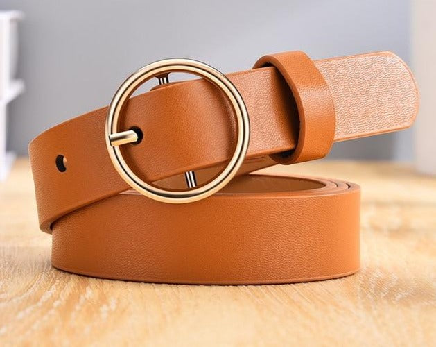 High Quality Leather Alloy Double Ring Circle Buckle Belt