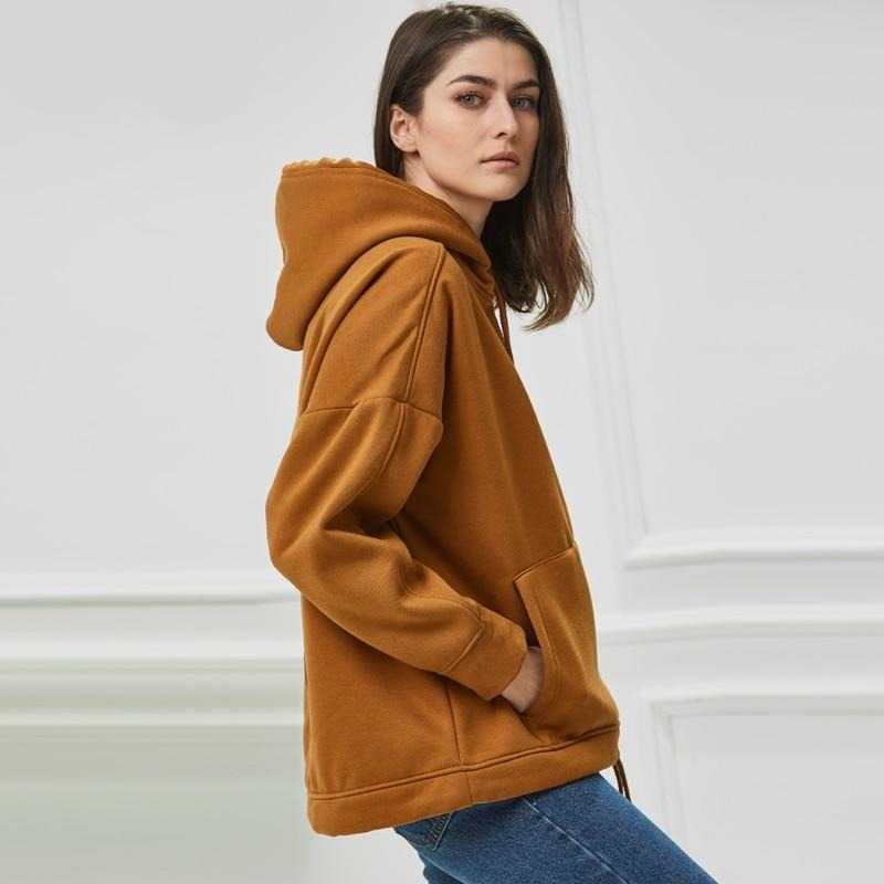 Fleece Solid Color Pullovers Sweatshirt