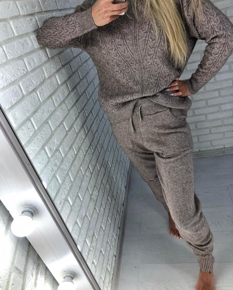 Women 2 Pieces Sets Turtleneck Pullover And Long Pant Knitted Suit