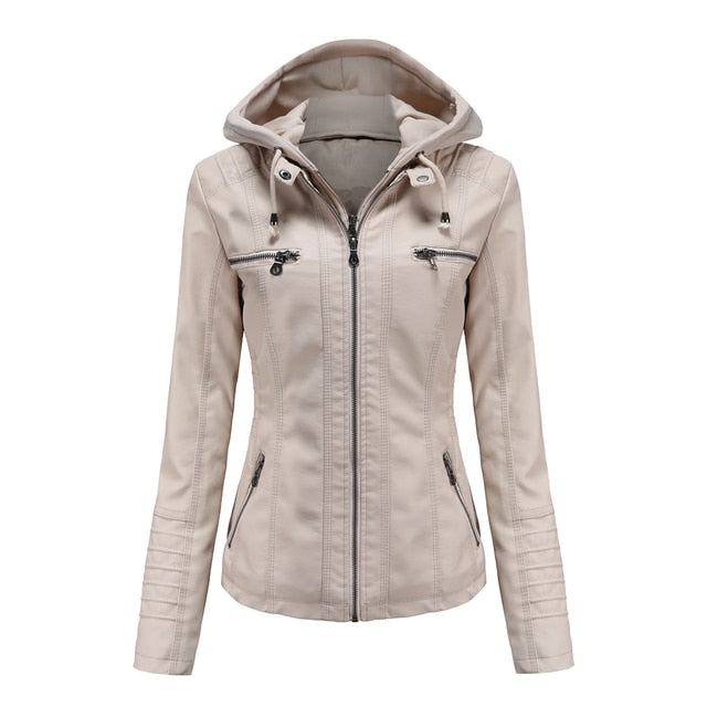 Women Faux Soft Leather Hooded Jacket