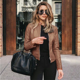Women Zipper Leather Motorcycle Long Sleeve Slim Faux Leather Jacket