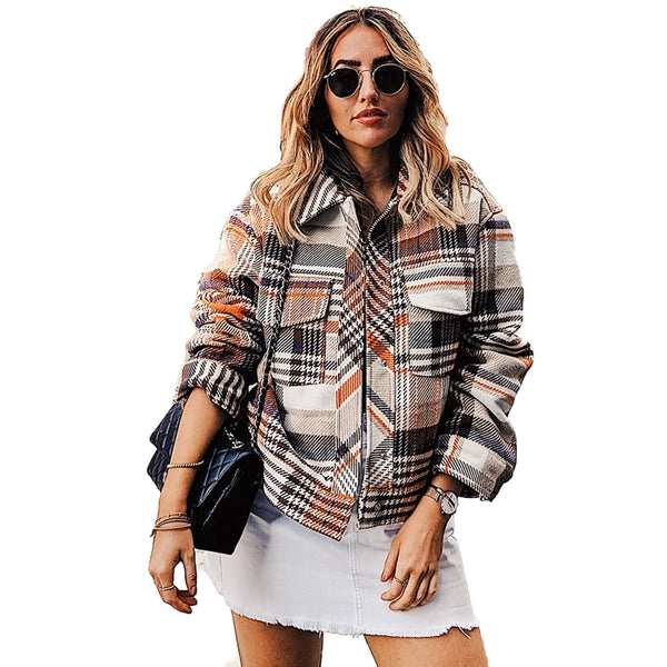 Vintage Casual Plaid Winter Jackets For Women