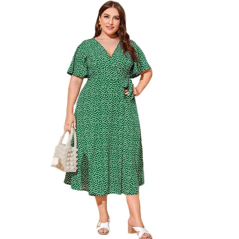 Plus Size Floral Knot Side Wrap Dress