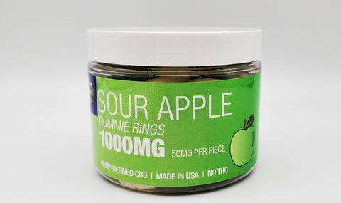 Delta Premium CBD 1000 Sour Apple Gummie Rings. Hemp-Derived CBD with NO THC. 50mg CBD Gummies, Made in USA.