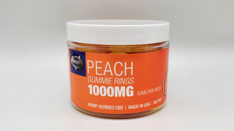Delta Premium CBD 1000mg Peach Gummie Rings. Hemp-Derived CBD with NO THC. 50mg CBD Gummies, Made in USA.