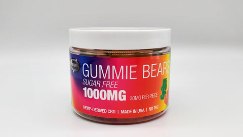 Delta Premium CBD 1000 Sugar Free Gummie Bears. Hemp-Derived CBD with NO THC. 50mg CBD Gummies, Made in USA.