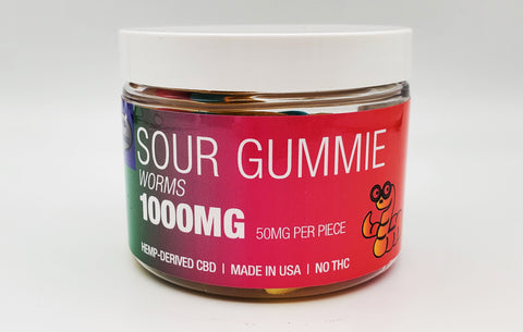 Delta Premium CBD 1000mg Sour Gummie Worms, Hemp-Derived CBD with NO THC. 50mg CBD Gummies, Made in USA.