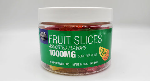 Delta Premium CBD 1000mg Assorted Fruit Slice Gummies. Hemp-Derived CBD with NO THC. 50mg CBD Gummies, Made in USA.