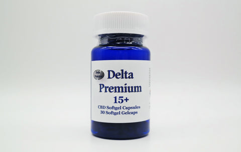 Delta Premium 15mg CBD Gel Capsules. Hemp-Derived CBD. Made in USA.