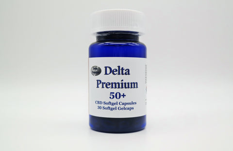 Delta Premium 50mg CBD Gel Capsules. Hemp-Derived CBD. Made in USA.