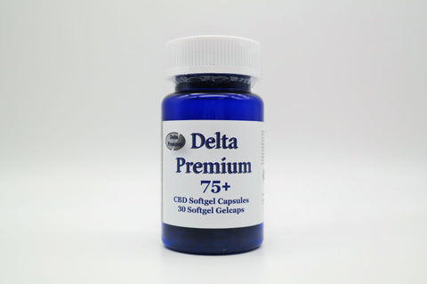 Delta Premium 75mg CBD Gel Capsules. Hemp-Derived CBD. Made in USA.