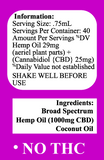 Delta Premium CBD 1000mg Tincture Oil Information and Details regarding serving size and ingredients.