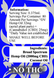 Delta Premium CBD 2000mg Tincture Oil Information and Details regarding serving size and ingredients.