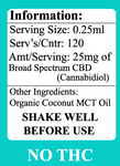 Delta Premium CBD 3000mg Tincture Oil Information and Details regarding serving size and ingredients.