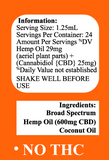 Delta Premium CBD 600mg Tincture Oil Information and Details regarding serving size and ingredients.