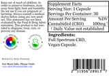 Delta Premium 100mg CBD Vegan Capsules. Supplement Facts and Ingredients list.