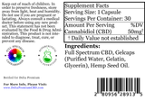 Delta Premium 50mg CBD Gel Capsules. Supplement Facts and Ingredients list.