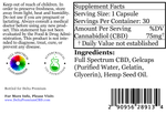 Delta Premium 75mg CBD Gel Capsules. Supplement Facts and Ingredients list.