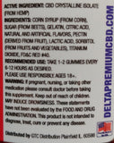 Delta Premium CBD 1000 Watermelon Gummie Rings Ingredients list and Recommended Use Description.