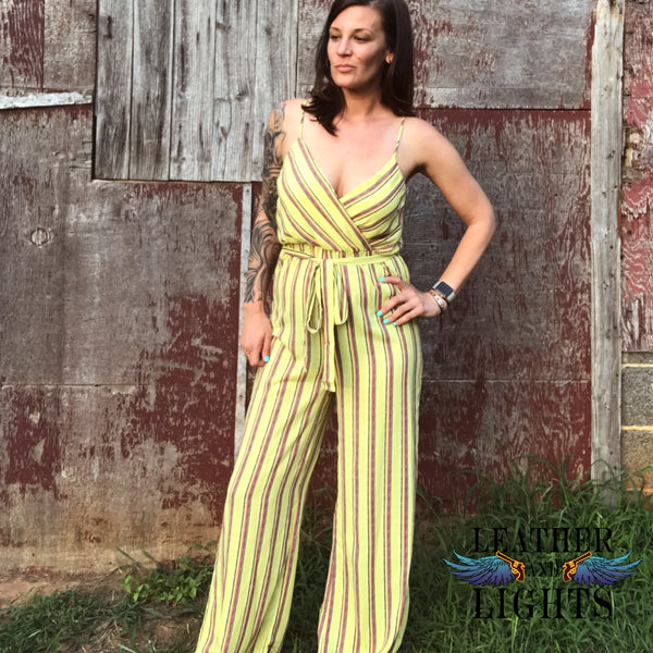 Mustard Striped Surplice Jumpsuit