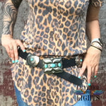 Black Leather Turquoise Concho Belt
