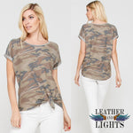 Short Sleeve Camo Knot Tunic Top