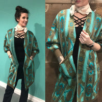 Cozy up Aztec Print Long Cardigan
