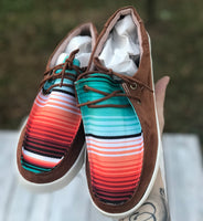 Serape Lace Up Suede Loafers