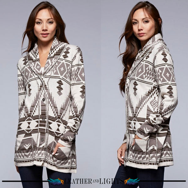 Lovely Aztec Button Up Sweater