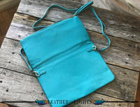 Turquoise Leather Fold Over Cross Body Bag