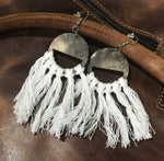 Cowhide & White Tassel Earrings