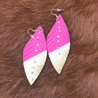 Hot Pink & Gold Leather Feather Earrings