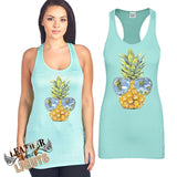 Mint Pineapple Sunglasses Tank Top
