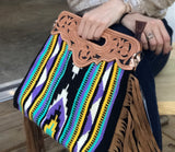 Purple Aztec Blanket Leather Bag