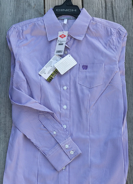 Women's Purple Striped Tencel® Cinch® Button Up