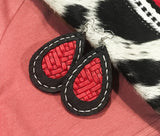 Black & Red Handmade Leather Earrings
