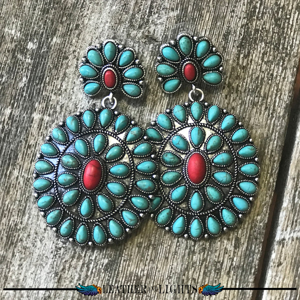 Red & Turquoise Earrings