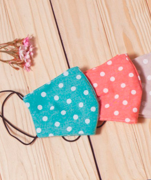 Teal Polka Dotted Face Masks