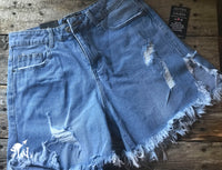 Light Denim Distressed Work Shorts