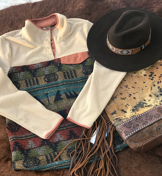Tribal Print Tan Qtr Zip Pull Over