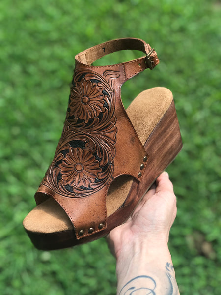 Tooled Leather Wedges