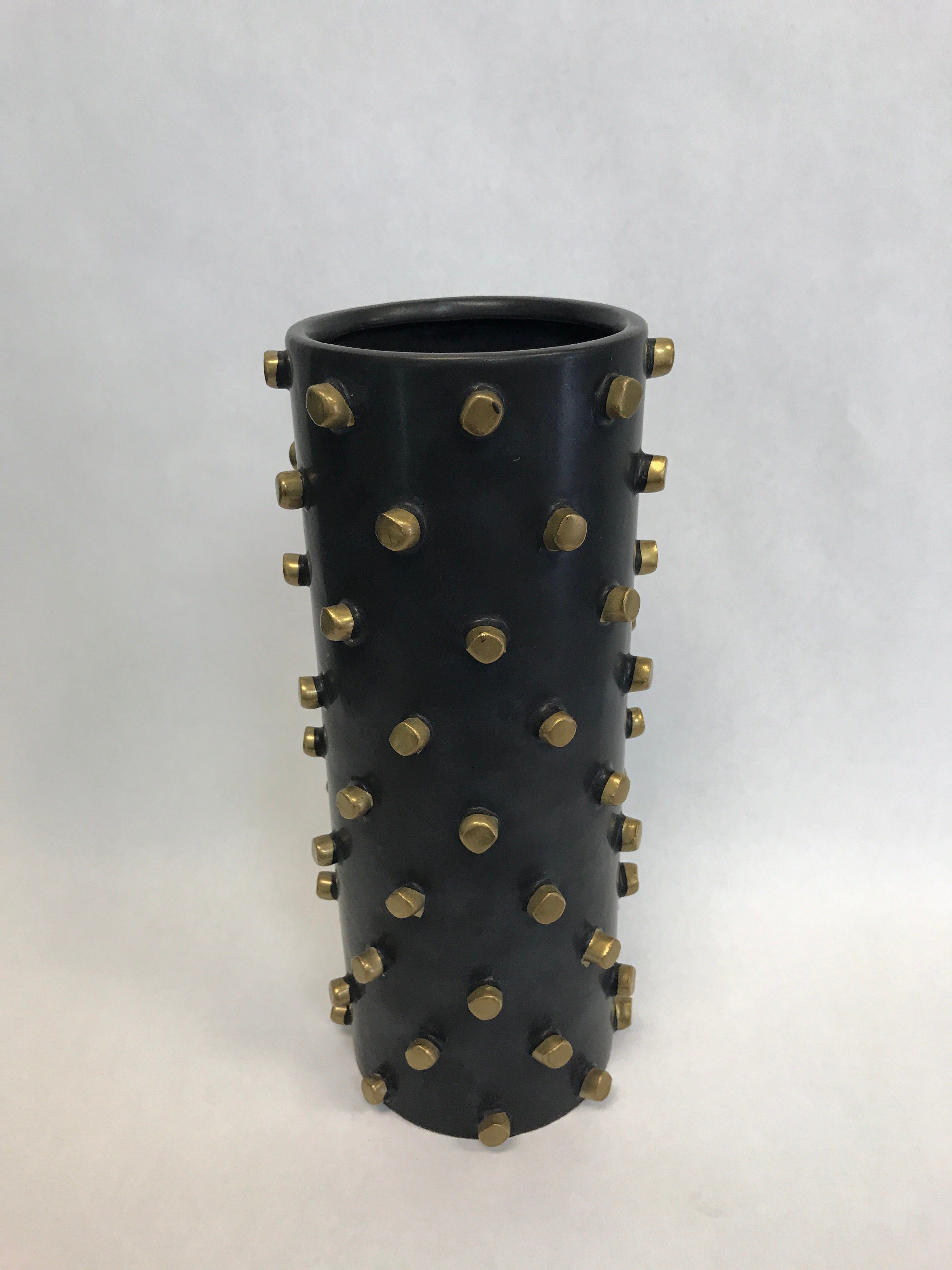 Ceramic black and gold vase - Blanc Flowers, Tauranga Florist