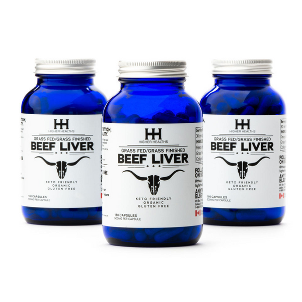 Beef Liver Capsules, 180 Caps, 3 Bottles, Higher Healths