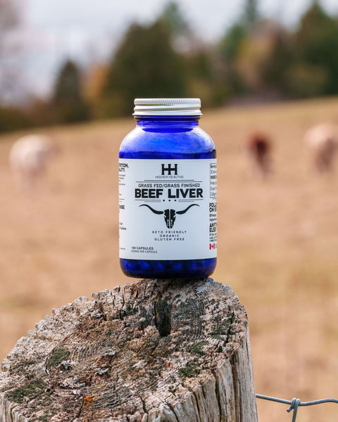 Beef Liver Capsules, 180 Caps, Pill Container on Stump,Higher Healths