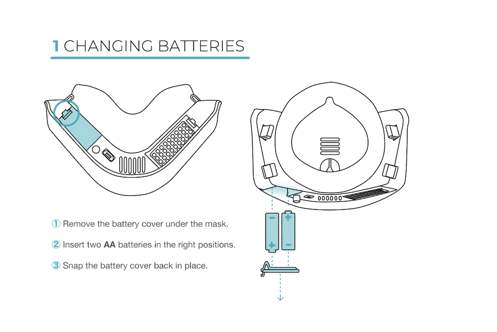 1) Remove the battery cover under the mask. 2) Insert two AA batteries in the right positions. 3) Snap the battery cover back in place. Please call 301-799-5288 or email ada@cleanairtek.com for further assistance.