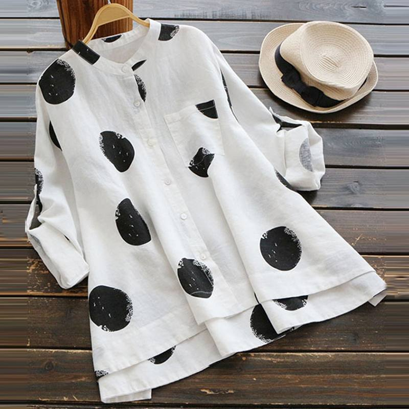 Polka Dot Button Up Long Sleeve Tunic
